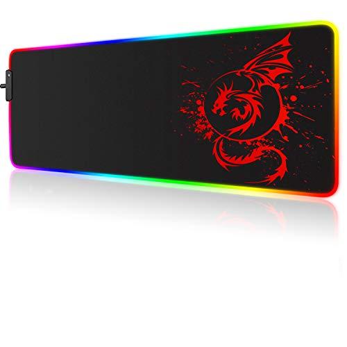 RGB Gaming Mauspad, großes erweitertes leuchtendes LED Mauspad mit 15 Beleuchtungsmodi und USB, glatte Oberfläche, wasserdichtes Gamer Mauspad für Gaming, MacBook, PC, Laptop, Schreibtisch (Rot)