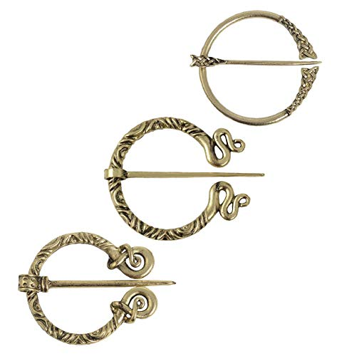 Cloak Clasp Cloak Pin Shawl Pin Scarf Pin Sweater Clip Brooch for Women Cardigan, ZeroGoo Medieval Penannular Vintage Celtic Viking Scottish jewelry (Gold-01)