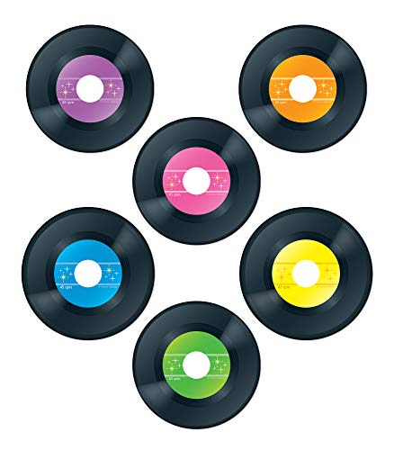 Carson Dellosa Vinyl Record Cut-Outs—Colorful Vintage Records for Party Displays, Labels, Name Tags, Invitations, Bulletin Board Decorations, Retro Room Decor (45 pc)