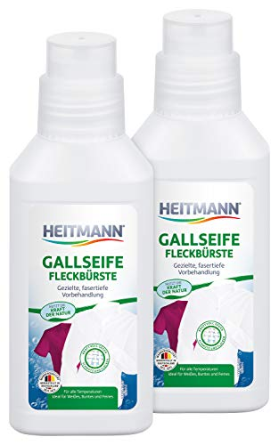 Heitmann Gallseife Fleckbürste: Wäsche Vorbehandlung bei hartnäckigen Flecken, Fasertiefe Fleckenentfernung von z.B. Fett, öl, Blut, Make-up - mit Bürste ideal für Kragen und Manschetten, 2 x 250 ml
