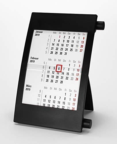 HiCuCo 3-Monats-Tischkalender für 2 Jahre (2020 und 2021) - Aufstellkalender - mit Drehmechanik - schwarz - TypD2