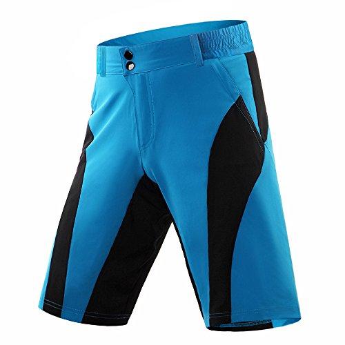 SHUIBIAN wielerbroek voor heren, met afneembaar 4D zitkussen, MTB-broek, mountainbike, broek voor heren, gewatteerde fietsbroek voor heren, sneldrogend, elastische shorts en onderbroek, gevoerd