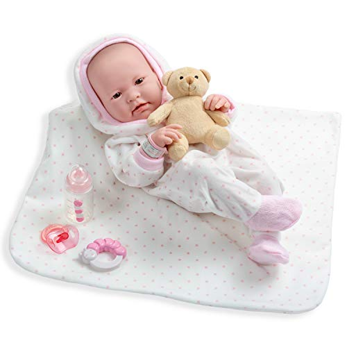 Berenguer All-Vinyl La Newborn Doll in White/pink Outfit and Blanket. REAL Girl!
