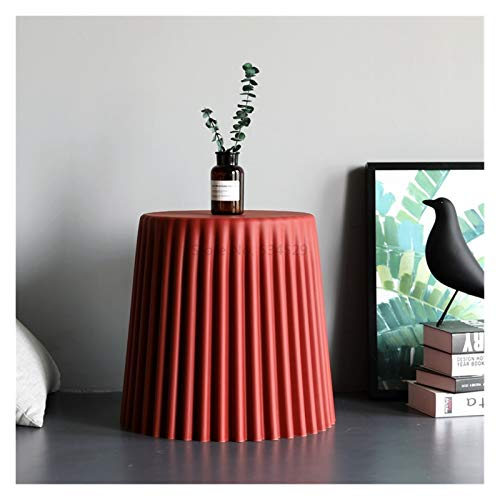 Youpin Wrinkle Plastic Coffee Table Living Room Side Table Bedside Small Round Table Creative Stool Cake-shape Home Decor (Color : Red L)