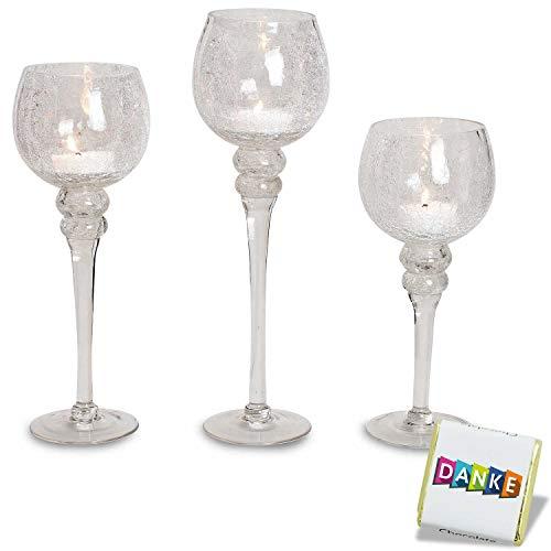 3 teiliges Glaskelch Windlicht Set, Kelche klar gecrackeltes Design auf Standfuß Kerzenhalter Kerzenständer Kerzenleuchter Höhe: 40, 35 & 30cm