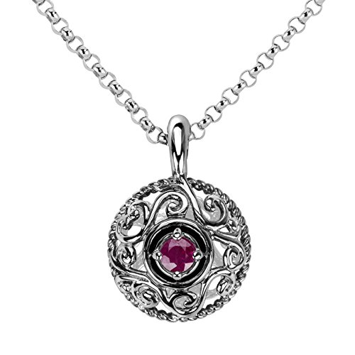 Sterling Silver Faceted Ruby Pendant - 8