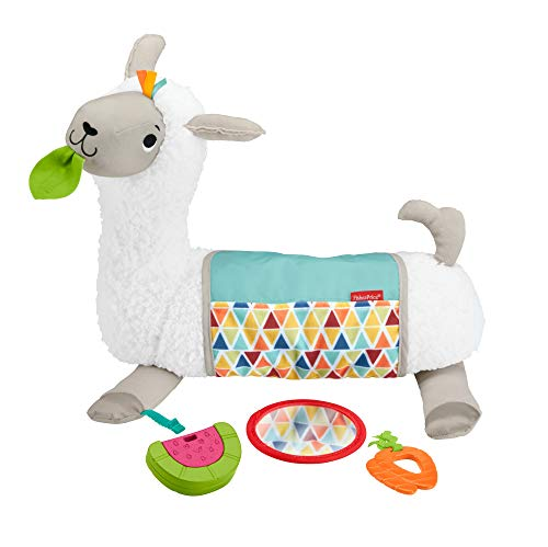 Fisher-Price GLK39 - 4 in 1 Lama weiches Spielkissen mit 4 Spielmöglichkeiten und 3 Spielzeuge zum Mitnehmen, Babyspielzeug ab der Geburt
