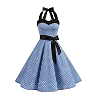 SBWFH 女性の水玉模様の夏のドレス、レトロな背中のレトロなドレスローブパーティードレス (Color : A, Size : Large)