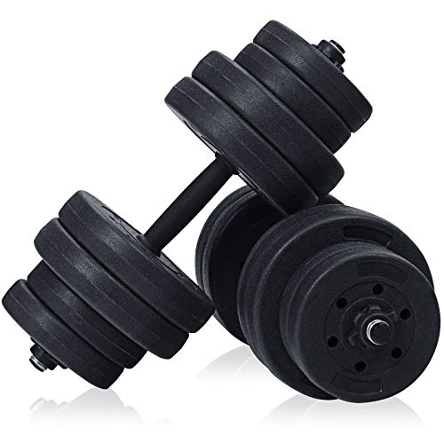 COSTWAY 2 in 1 Dumbbell Barbell Set, 30KG Adjustable Weight Lifting Training Bar with Link Accessories, Non-Slip Body Revolution Fitness Vinyl Bars for Home Gym Office
