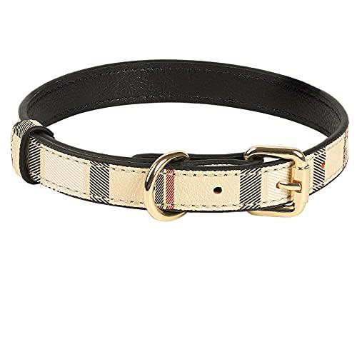 Collar de piel para cachorros con diseño de cuadros y hebilla de metal, adecuado para perros pequeños y medianos