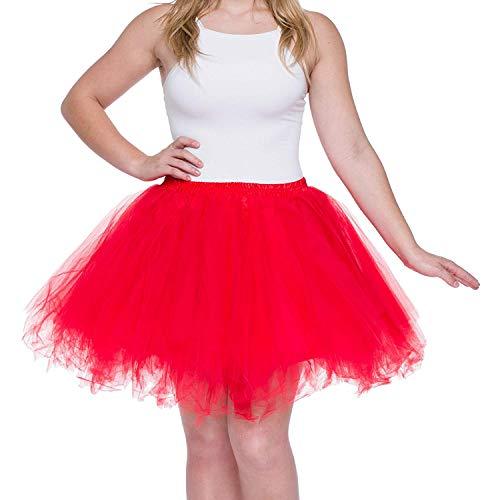 Dancina Damen Petticoat 50er Jahre Retro Tutu Tüllrock Normale und Große Größen, Rot, Gr. 36-40