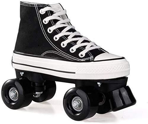 XYLUCKY Leinwand-Quad Roller Skates für Mädchen und Jungen Kind Unisex mit hoher Spitzenschuh-Art für Indoor, Outdoor,Schwarz,43