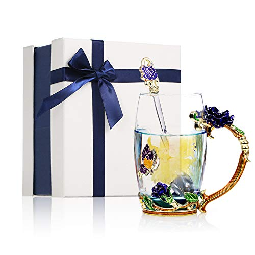 Decdeal Flower Tea Cup, Enamel Craft Glass Coffee Mugs Lead-Free Drink Mug with Spoon&Cleaning Cloth&Gift Box,Personalised Gifts for Women Mum Teacher Sister Birthday Christmas Valentines Wedding Day