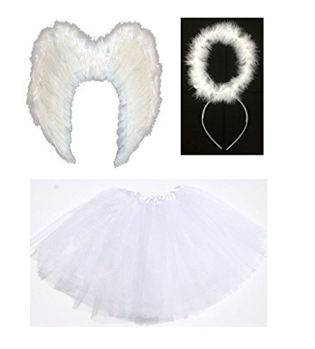Lizzy Kids Angel Fairy Feather Wings Halo Fancy Dress Costume Cat Leopard Outfit Party Kids White Angel Costume (Wings + Halo + Tutu)