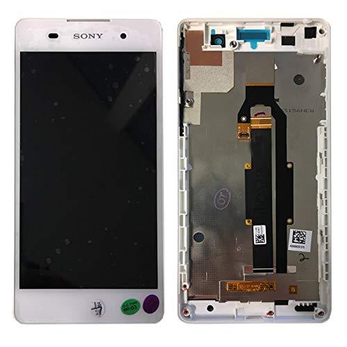 Sony Display Full LCD Komplettset mit Rahmen Touchscreen Glas Scheibe Ersatzteil Zubehör Reparatur Weiß für Xperia E5 F3311 Schwarz + Werkzeug Opening Tool