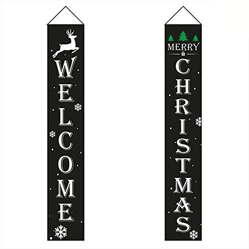 Zeaih Kerst Gordijn Koppel, Home Deur Raam Vakantie Feestelijke Decor, Nieuwjaar Deur Decoratie Welkom Banner voor Kerst Vakantie