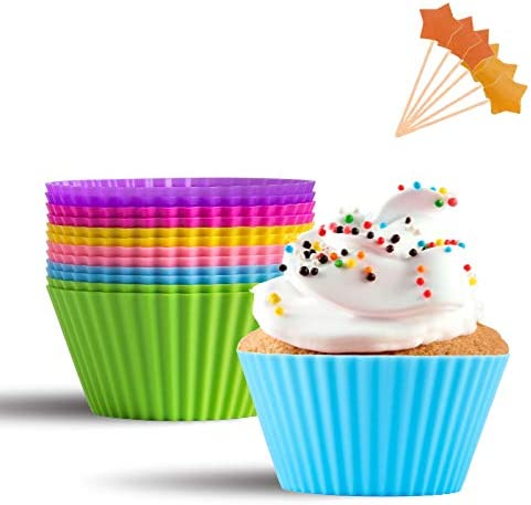 Silicone Baking Cups McoMce 12 Pack Bright Color Silicone Cupcake Baking Cups Non Stick Cupcake product image