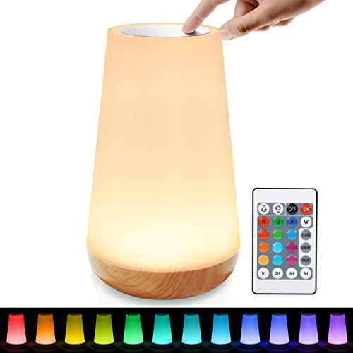 tronisky LED Nachttischlampe, Touch Dimmbar Atmosphäre Tischlampe mit Fernbedienung, 13 Farben und Farbwechsel, Tragbare LED Nachtlicht Kinder Stimmungslicht für Schlafzimmer Wohnzimmer Büro