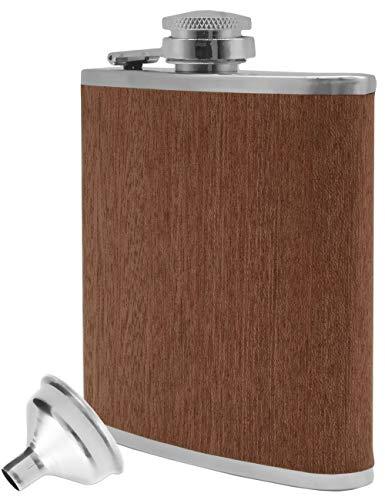 Outdoor Saxx® - Fiaschetta in acciaio inox con design in legno, bottiglia di alta qualità, bottiglia di grappa, bandiera, chiusura a vite, ottima idea regalo, 175 ml, design in legno di quercia