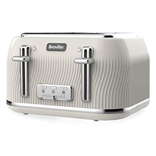 Breville VKT891 Flow 4-teilig Toaster mit hohem Hebe- und breitem Schlitz, Pilz creme