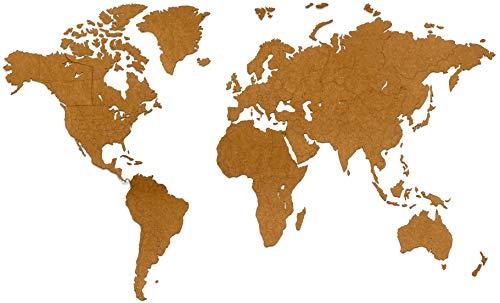 MiMi Innovations - Lussuosa Decorazione da Parete in Legno con Mappa del Mondo 130 x 78 cm - Nero/Marrone/Blanco (HDF Marrone: 180 x 108 cm)
