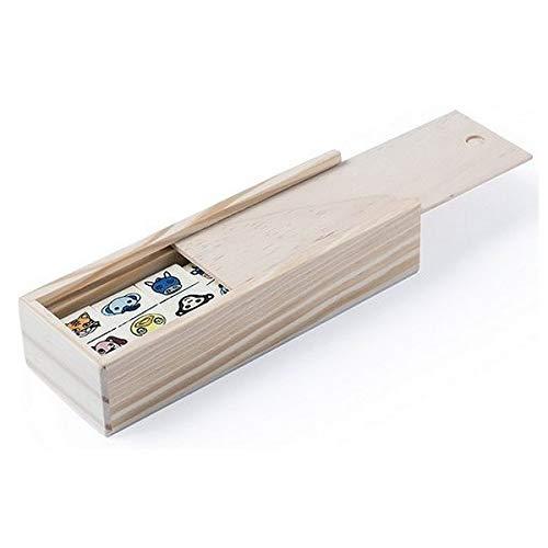 Eurroweb Domino de madera, diseño de animales – Juego infantil – 28 unidades