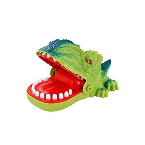Toyvian Morder Dedo Juguete Dinosaurio Dientes Juguete con Música Hipopótamo Clásico Dentista Juegos Divertido Fiesta Acción Familiar Tiranosaurio para Niños Adultos Verde