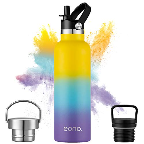 Amazon Brand - Eono Botella de Agua Isotérmica 750ml Reutilizable con Aislamiento...