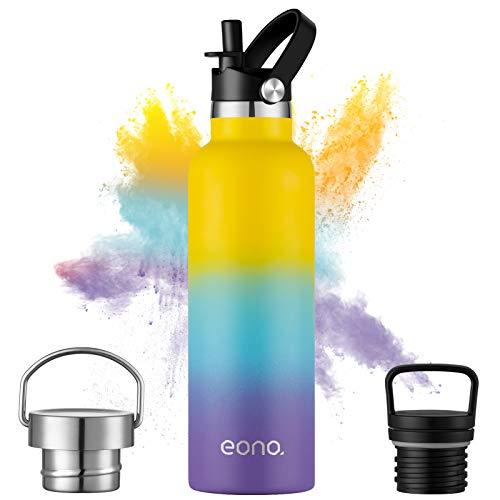 Eono Amazon Brand Borraccia Termica 750 ml, Bottiglia Acqua in Acciaio Inossidabile, con Cannuccia e 3 Tappi Thermos, Senza BPA, Borraccia Riutilizzabile per Adulti, Bambini, Scuola, Viaggio