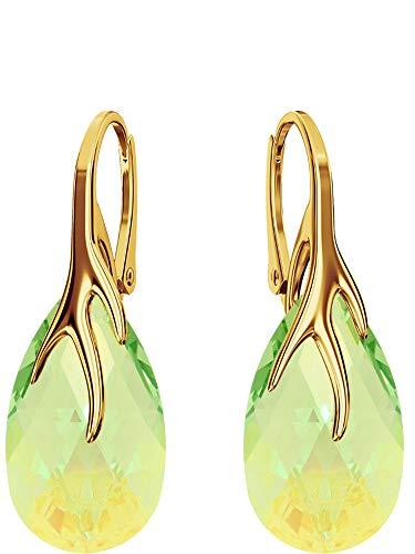Crystals & Stones Silber 925/Vergoldet 24 K *MANDEL* - *Farben Varianten* Schön Damen Ohrringe Silber 925 - mit Kristallen von Swarovski - Wunderbare Ohrringe mit Geschenkbox BAP39 (Peridot Blue AB)