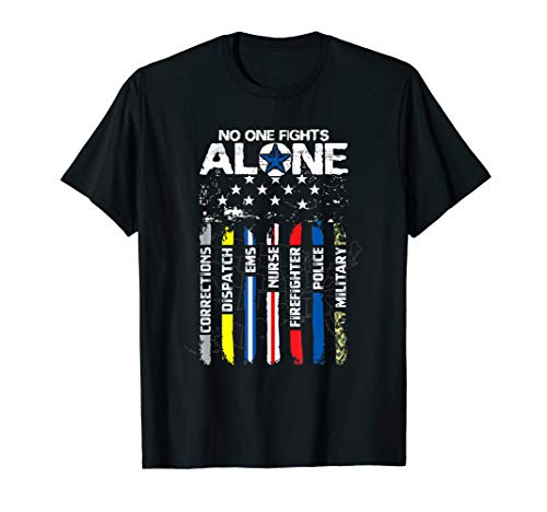 First Responders American Thin Line Police Fire Military EMS T-Shirt