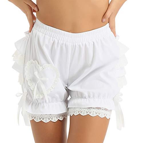 Mufeng Women High Waist Lace Ruffles Pumpkin Bloomer Knicker Victorian Pumpkin Panties White XL
