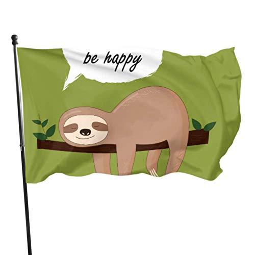WDDHOME Niedliche Baby Faultiere hängen am Baum Mädchen Flagge Dekor lustige Fahnen für Erwachsene 3 x 5 Fuß lebendige Farben Qualität Polyester und Messing Ösen