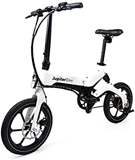 Jupiter Bike Discovery Lightweight Folding Pedal Assist Electric Bike with E-Bike Carrying Bag Magnesium-Alloy Frame Lithium-ion Battery 36V/250W Hub Motor Dual Disc Brakes (White)