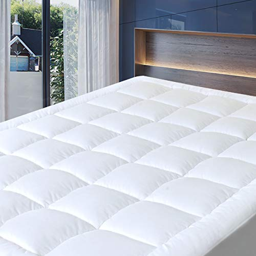 "Cosylifee Queen Mattress Pad Cover Thick Quilted Mattress Topper Cooling Mattress Protector Overfilled Cotton Top Pillow Top with Snow Down Alternative Fill (8-21""Fitted Deep Pocket)"