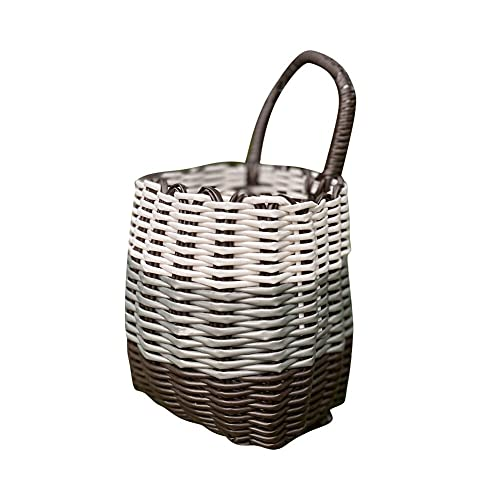 Tylyund Picnic basket Front Handle Bicycle Basket Manually Woven Bicycle Basket Wicker Blue Suitable For Men Women Children Adult Picnic Basket
