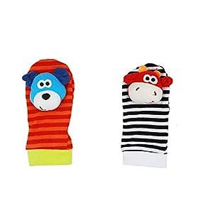 ZHANGNUO Sonajero para Bebé Juguetes Sonajero De Muñeca Y Calcetines De Pie Animal Cute Cartoon Baby Socks Sonajero Toys Café