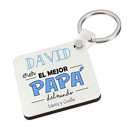 Kembilove Llavero Personalizado para Padre - Llavero Cuadrad