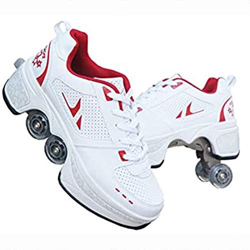 WFSH Rollschuhe 4-Rad-einstellbare Quad-Rollschuhstiefel, 2-in-1-Mehrzweckschuhe, Jungen-Mädchen-Universal Walking-Schuhe (Color : Red, Size : 37)