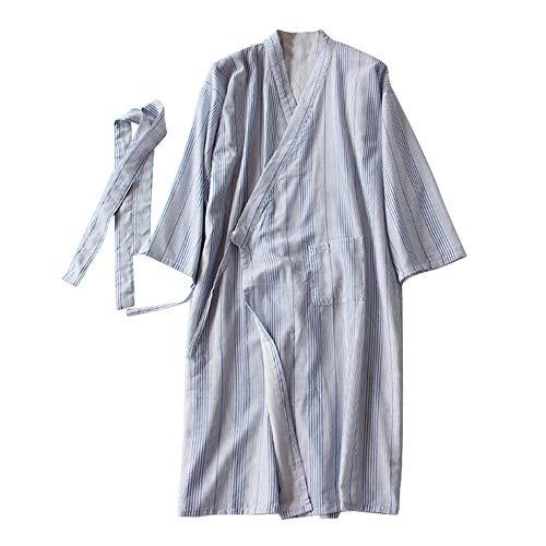 FEOYA Bata Japonesa de Baño Rayas Pijama de Kimono con
