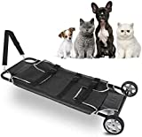 YAJIWU Camilla plegable, camilla veterinaria para transporte de mascotas, camilla de transporte de animales, camilla para perros y mascotas, con ruedas