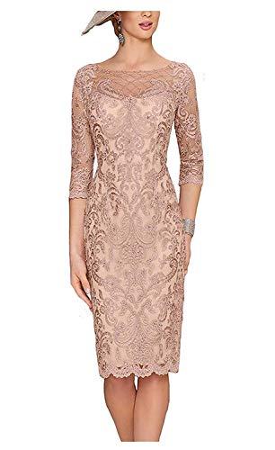 Royaldress Damen 2020 Neu Knielang Kurz Abendkleider Ballkleider Brautmutterkleider Figurbetont Etuikleider -44 Champagner