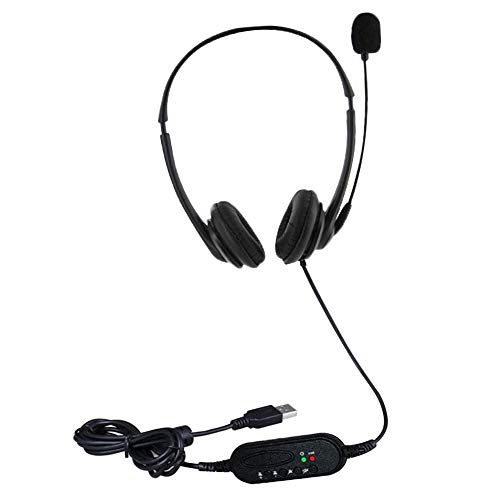 Cuffie USB con Microfono per PC portatile, con Cavo a riduzione del rumore, per conferenze telefoniche professionali, insegnamento via Skype, ecc