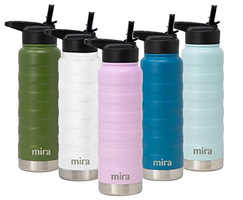 MIRA 25 Oz Stainless Steel Vacuum Insulated Ridge Water Bottle   Double Walled Thermos Flask   24 Hours Cold, 12 Hours Hot   Reusable Metal Water Bottle   Leak-Proof Sports Bottle   Lilac
