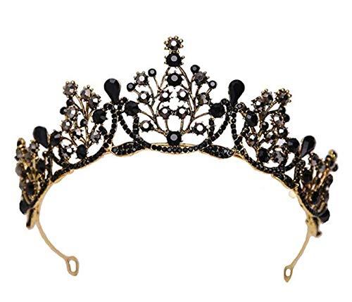 XYDZ Tiara Corona di Cristallo Vintage, Corona di Cristallo Nero, Corona Regina Rétro Gotico con Strass per Party