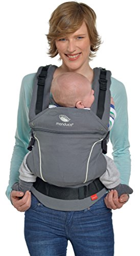 manduca First Baby Carrier > PureCotton DarkGrey < Mochila Portabebe Ergonomica, Algodón Orgánico, Extensión de Espalda Patentada, para Recién Nacidos y Bebés de 3,5 a 20 kg (gris oscuro)