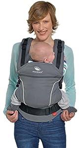 manduca First Baby Carrier > PureCotton DarkGrey < Mochila Portabebe Ergonomica, Algodón Orgánico, Extensión de Espalda Patentada, para Recién Nacidos y Bebés de 3,5 a 20 kg (gris oscuro)