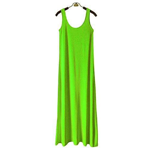 hoverwin Tank Top mujer camiseta de tirantes Long–Robe Minceur, vestido larga de tirantes Ete sin mangas Modal Sexy–suave y transpirable, confortable, verde neón, medium