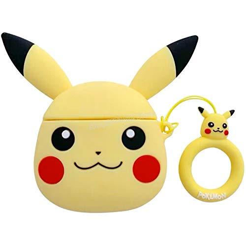Wagrass Étui de protection en silicone pour écouteurs Motif Pokémon Pikachu Jaune