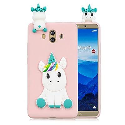 HopMore Funda para Huawei Mate 10 Silicona Dibujos Panda Unicornio Divertidas TPU Gel Kawaii Ultrafina Slim Case Antigolpes Caso Protección Flexible Cover Design Gracioso - Rosa Unicornio